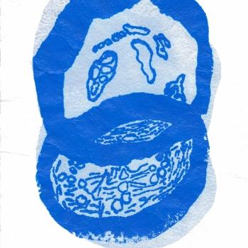 courgette monotype/zeefdruk op handgeschept papier